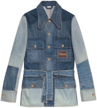 Gucci Patchwork effect denim jacket with label