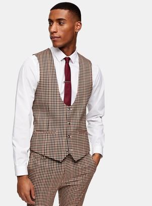 Topman Brown Gingham Check Skinny Fit Suit Waistcoat