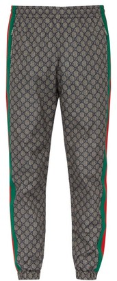 Gucci Gg-print Side-stripe Track Pants - Mens - Grey