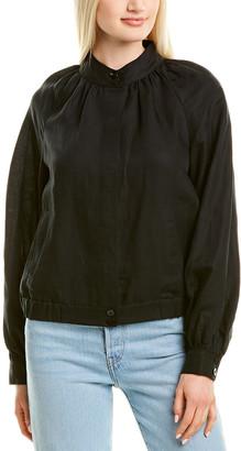 Frame Shirred Raglan Linen-Blend Bomber Jacket