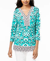 JM Collection Mixed-Print Studded Top, Created for Macy's