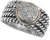 Effy Balissima by Diamond Texture Ring (1/6 ct. t.w.) in Sterling Silver and 18k Gold