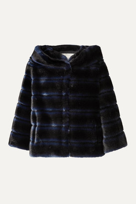Faz Not Fur - Swinger Striped Faux Fur Jacket - Navy