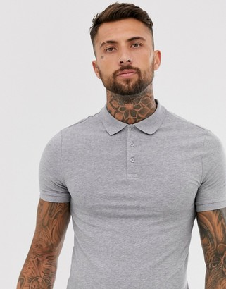 Asos Design DESIGN muscle fit jersey polo in gray marl