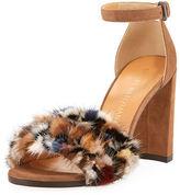 Stuart Weitzman Icelandia Mink-Fur Chunky-Heel Sandal