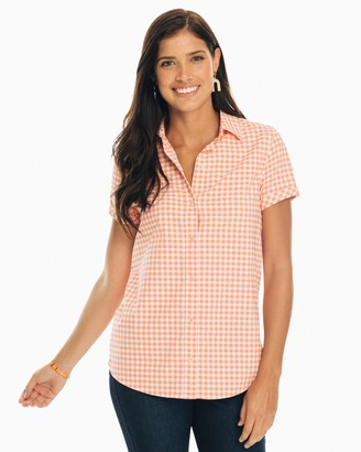 Southern Tide Courtney Gingham Intercoastal Short Sleeve Button Down Shirt
