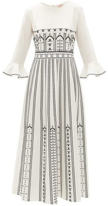 Le Sirenuse Le Sirenuse, Positano - Tracey Greek Mask-embroidered Cotton Dress - Womens - Cream