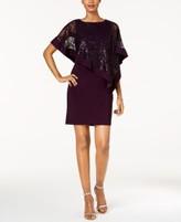 R & M Richards Sequined Cape Sheath Dress