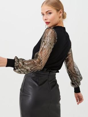 Warehouse Sequin Sleeve Jumper - Black