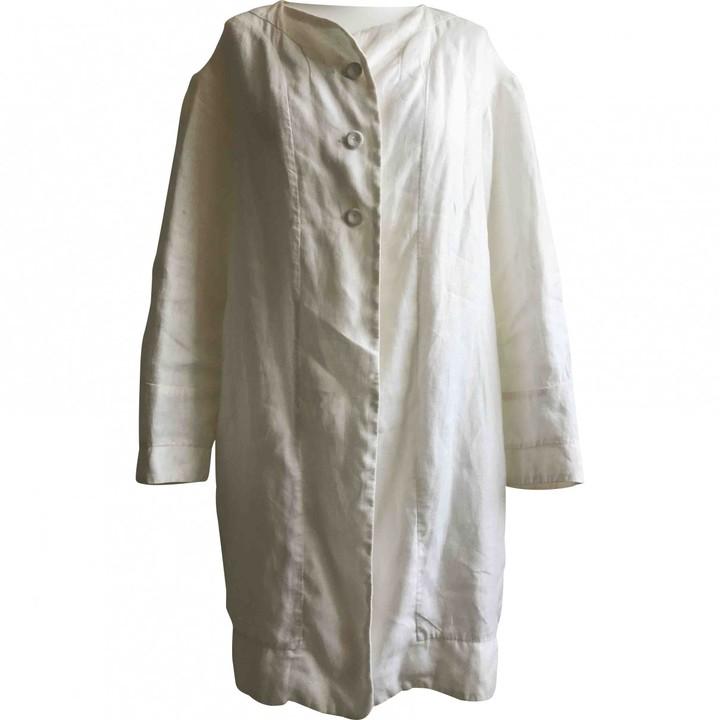 120% Lino Ecru Linen Coat for Women
