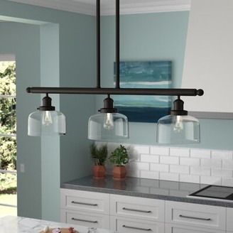 Beachcrest Home Beringer 3-Light Kitchen Island Bell Pendant Finish: Oil Rubbed Bronze, Shade Color: Matte White Cased