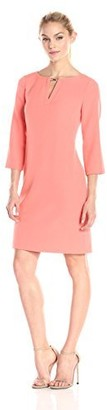 Adrianna Papell Women's Petite Three Quarter Sleeve Crepe Shift Dress