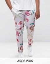 Asos Plus Super Skinny Smart Pants In Pink Floral Print