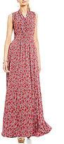 MICHAEL Michael Kors Augusta Floral Print Faux Wrap Side Slit Maxi Dres