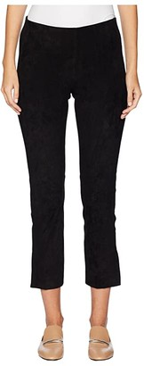 Vince Stretch Suede Split Hem Crop (Black) Women's Casual Pants