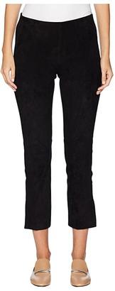 Vince Stretch Suede Split Hem Crop (Black) Women's Casual Pants