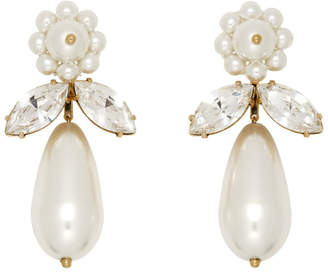 Simone Rocha White Pearl and Crystal Earrings