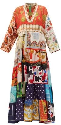 RIANNA + NINA Vintage Patchwork Silk Maxi Dress - Multi