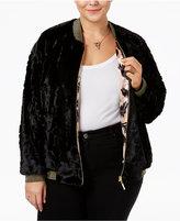 Melissa McCarthy Trendy Plus Size Reversible Faux-Fur Bomber Jacket