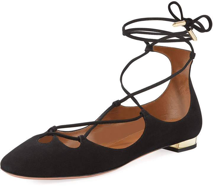 Aquazzura Dancer Suede Lace-Up Flat, Black