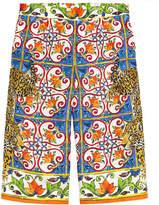 Dolce & Gabbana Mini Me print silk cropped pants - Mondello