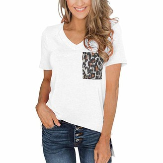 Luckme Long Tshirts Women Short Sleeve Slim Fit Leopard Pocket Tops Summer V Neck Shirts Cotton Casual Tee Shirt Tunic Loose Fit Baggy Tops Ladies Mother's Gift White