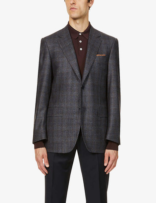 Canali Checked single-breasted wool-blend blazer