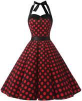 Dressystar Vintage Polka Dot Retro Cocktail Prom Dresses 50's 60's Rockabilly Bandage l