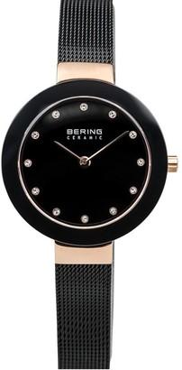 Bering Women's Rosetone & Black Mesh Bracelet Watch