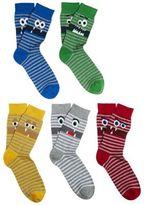 F&F 5 Pair Pack of Monster Face Fresh Feel Socks, Men's