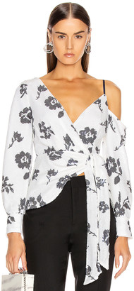 Self-Portrait Floral Sequin Wrap Top in Ivory & Navy | FWRD