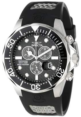 Invicta Men's 12571 Grand Diver Black Carbon Fiber Dial Rubber Strap Chronograph Dive Watch