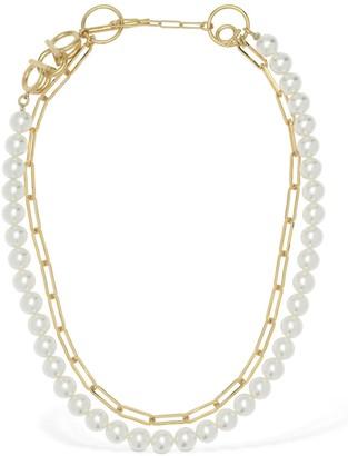 Salvatore Ferragamo Double Imitation Pearl & Chain Necklace