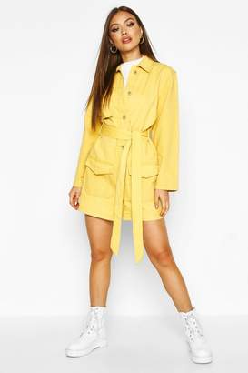 boohoo Belted Utility Button Denim Dress