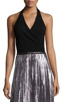 KENDALL + KYLIE Sleeveless Surplice Halter Top, Black