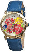Angela Women's Bertha BR3602 - Blue Leather/Multicolored Analog Watches