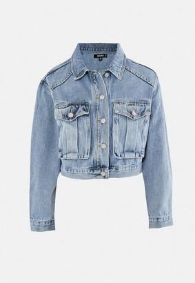 Missguided Blue Utility Denim Jacket