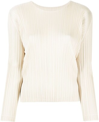 Pleats Please Issey Miyake Plisse Round-Neck Long-Sleeve Top