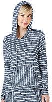 Kensie Striped Sweater-Knit Lounge Hoodie