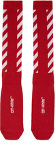 Off-White Red Diagonal Shiny Socks