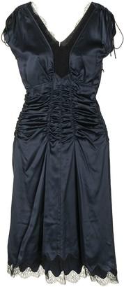 Prada Pre-Owned Cap Sleeveless Gathered Silk Dress