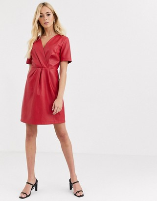 Morgan wrap front pu midi dress in red