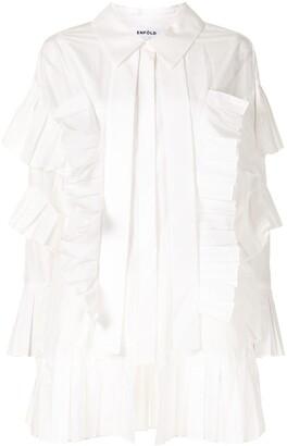 Enfold Pleat-Trimmed Long-Sleeved Shirt