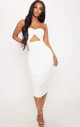 PrettyLittleThing Shape White Slinky Cut Out Ruched Bandeau Midi Dress