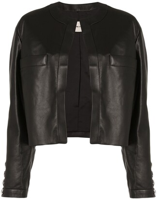 Alexandre Vauthier Crystal Button Leather Jacket