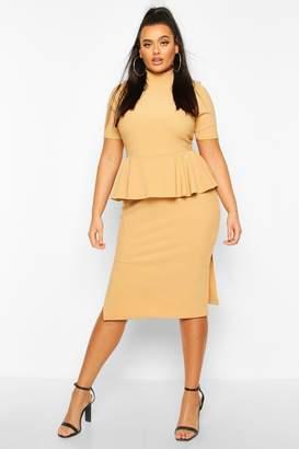 boohoo Plus Bandage Rib High Neck Peplum Midi Dress
