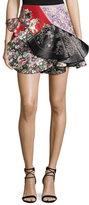 Alexander McQueen Patchwork Ruffled Leather Miniskirt