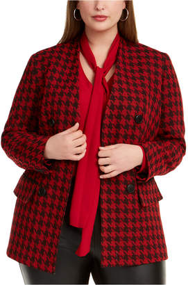 Bar III Trendy Plus Houndstooth Double-Breasted Blazer
