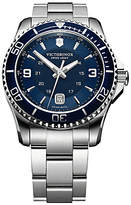 Victorinox 241602 Swiss Army Maverick Stainless Steel Bracelet Strap Watch, Silver/blue