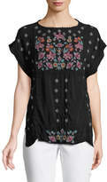 Johnny Was Austina Short-Sleeve Embroidered Top